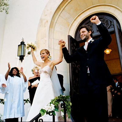 MARISKA AND PETER HERMANN ON THEIR WEDDING DAY